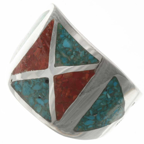 Turquoise Coral Silver Mens Ring 26744