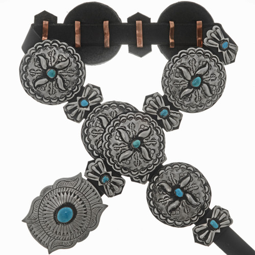 Turquoise Silver Concho Belt 16834
