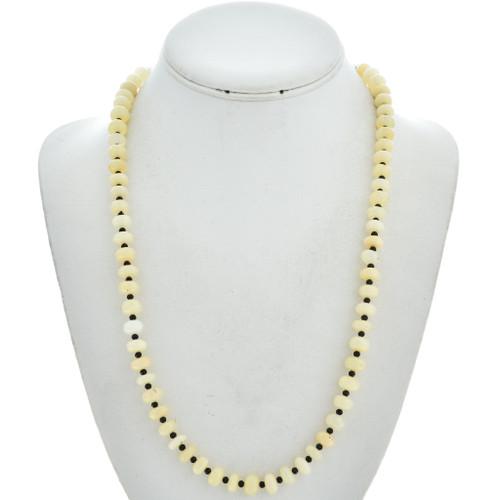 Navajo Genuine Opal Black Spinel Necklace 29740