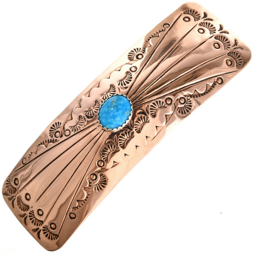 Navajo Turquoise Copper Hair Barrette 24408