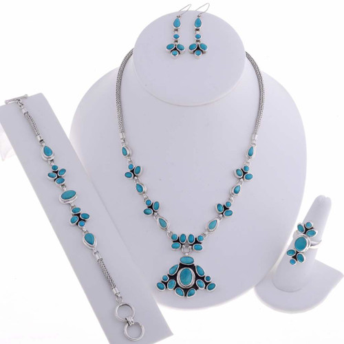 Turquoise Silver Jewelry Set t11512