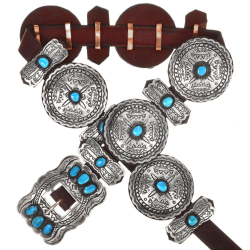 Navajo Turquoise Hammered Silver Concho Belt 16836