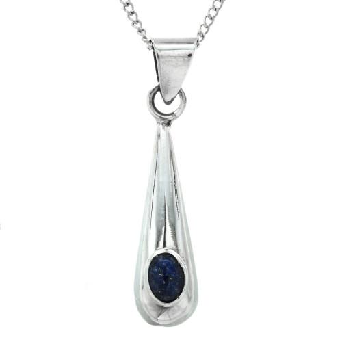 Southwest Lapis Silver Pendant with Chain 14566