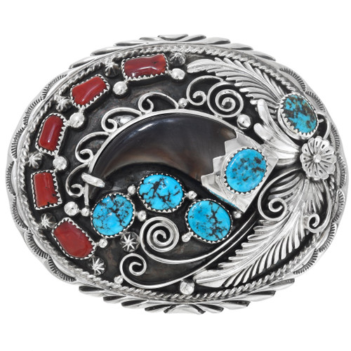 Navajo Turquoise Bear Claw Belt Buckle 20225