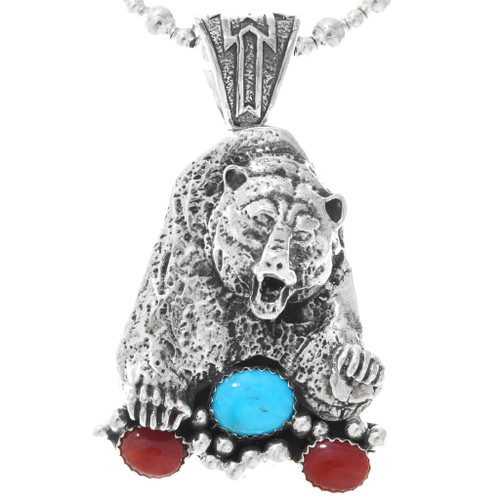 Navajo Turquoise Coral Silver Bear Pendant 29774