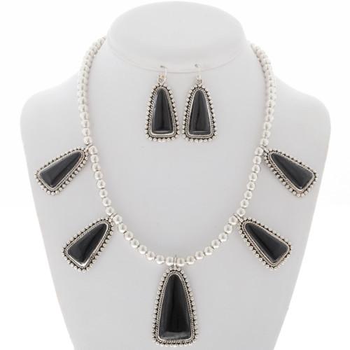 Black Onyx Southwest Silver Necklace Set 27846