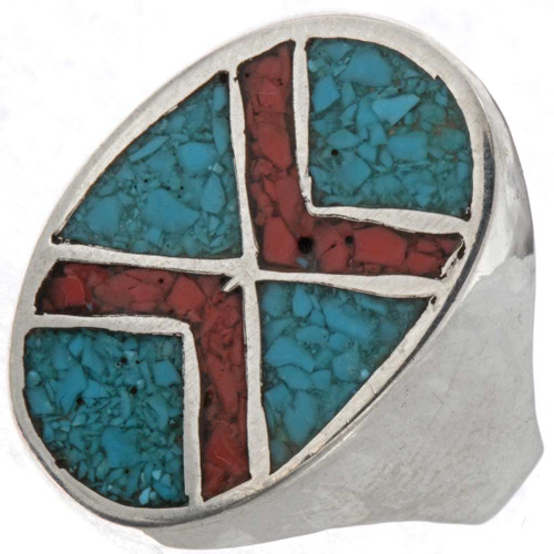 Turquoise Coral Mens Ring 25515