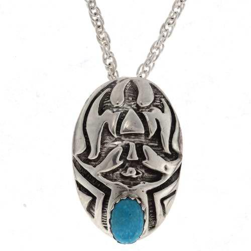 Genuine Turquoise  Silver Pendant 25511