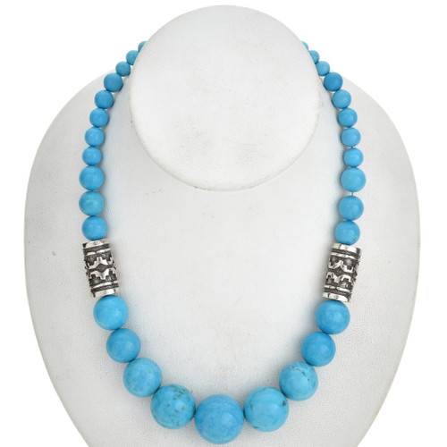 Turquoise Silver Necklace Graduating Beads 29697