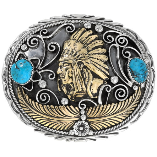Indian Chief Turquoise Belt Buckle 15213