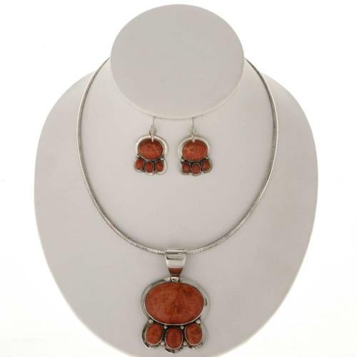 Apple Coral Silver Pendant Necklace Set 25472