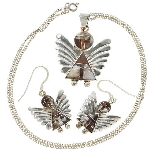 Silver Angel Pendant Earring Set 29524