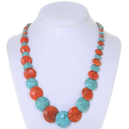 Turquoise Coral Navajo Bead Necklace 25177