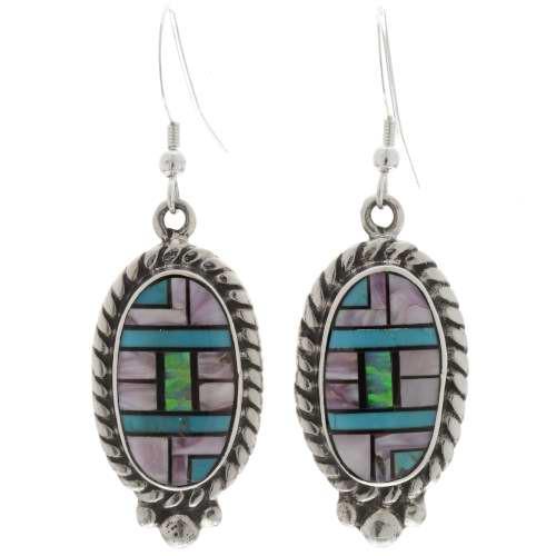 Turquoise Purple Shell Earrings 27043