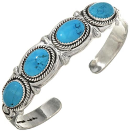 Navajo Turquoise Silver Bracelet 29418