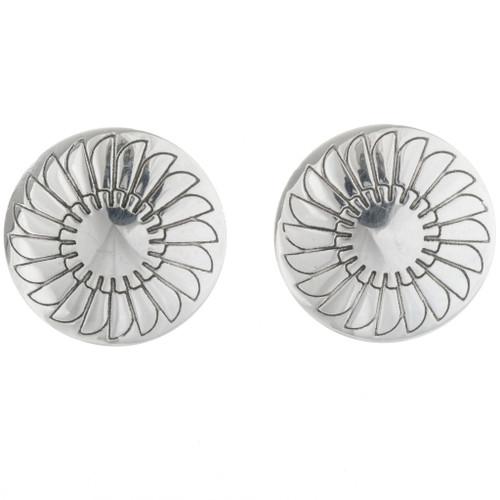 Navajo Silver Concho Post Earrings 18937