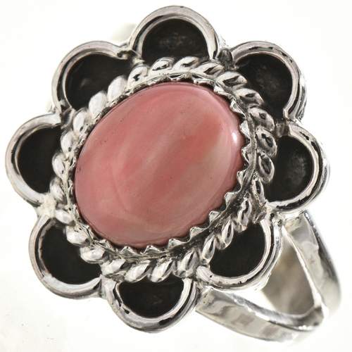 Pink Coral Silver Ladies Ring 28664