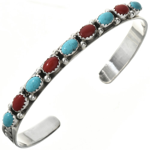 Turquoise Coral Silver Bracelet 29223
