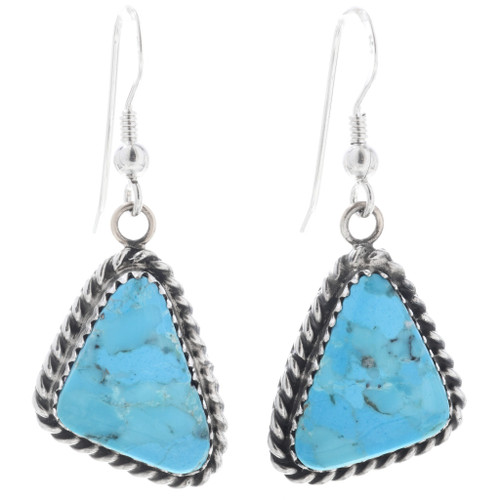 Navajo Turquoise Silver Dangle Earrings 28583