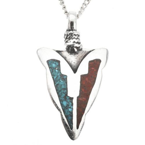 Inlaid Silver Arrowhead Pendant 27573