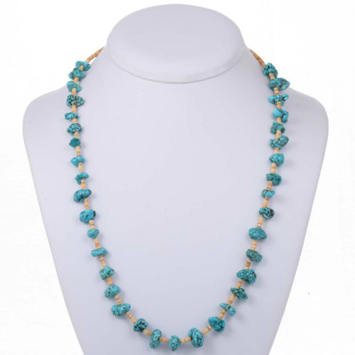 Turquoise Nugget Heishi Necklace 25296