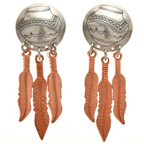 Navajo Copper Feather Silver Earrings 23858