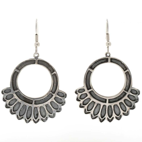 Silver Circle Navajo Hoop Earrings 27010