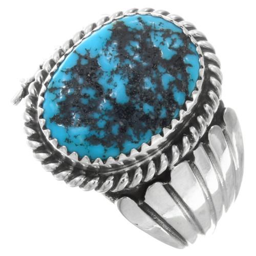 Kingman Turquoise Silver Ring Mens 29682