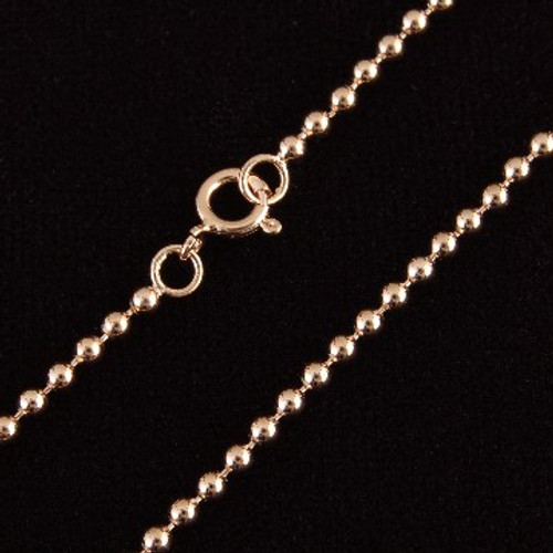 Diamond Cut Beaded Rose Gold Vermeil Chain Necklace