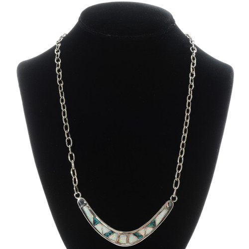 Inlaid Turquoise Opal Silver Necklace 15155
