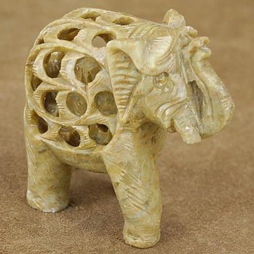Green Marble Indian Elephant Table Fetish Sculpture