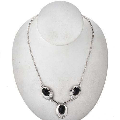 Native American Black Onyx Silver Y Necklace 29683