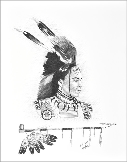 Native American Six Feather Brave Art Print by Navajo Frankie C. Nez