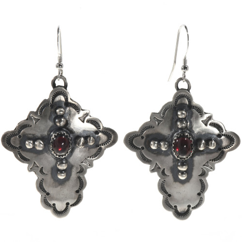 Garnet Silver Cross Dangle Earrings 28852