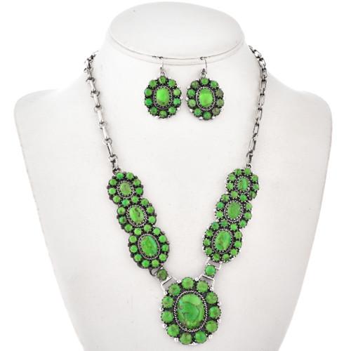 Gaspeite Sterling Link Necklace Set 29623
