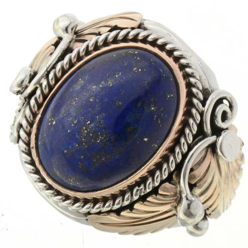 Mens Lapis Gold Silver Ring 24110