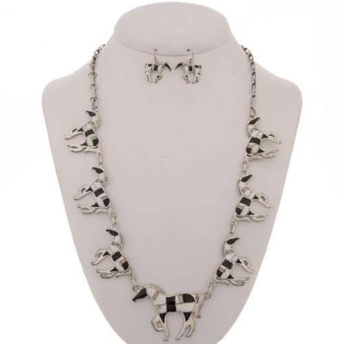 Opal Onyx Horse Necklace Set12711