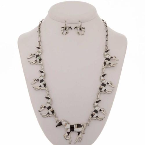 Opal Onyx Horse Necklace Set12711