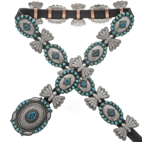 Turquoise Hammered Silver Concho Belt 26925