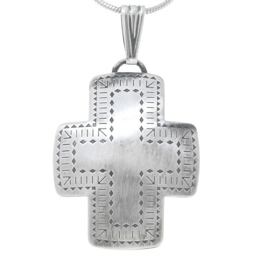 Native American Silver Cross Pendant 29440