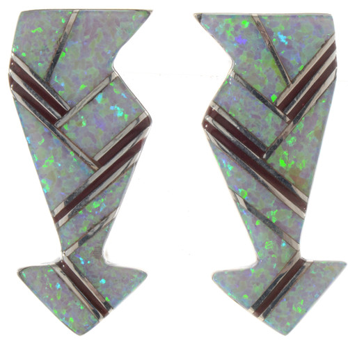 Opal Arrow Silver Earrings 15098