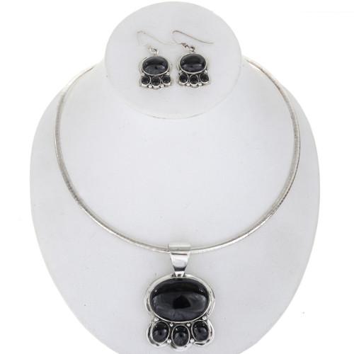 Navajo Black Onyx Silver Necklace Set 27904