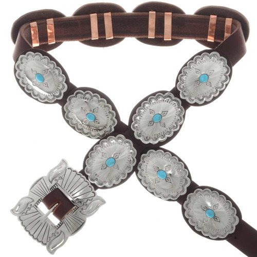 Kingman Turquoise Silver Concho Belt 23793