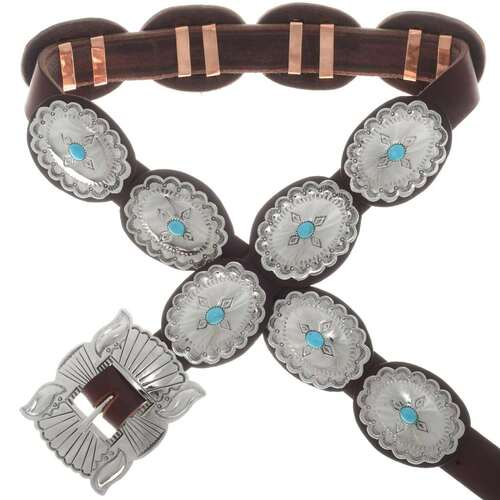 Kingman Turquoise Silver Concho Belt 23793