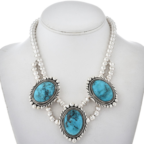 Three Stone Turquoise Silver Necklace 22571