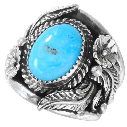 Turquoise Silver Mens Ring 23204