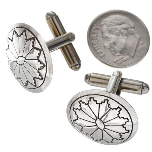 Navajo Southwest Silver Concho Cuff Links 20856