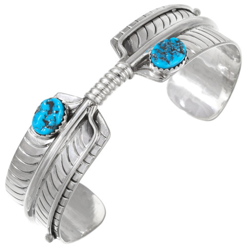Sleeping Beauty Turquoise Sterling Silver Feather Cuff Bracelet 25081