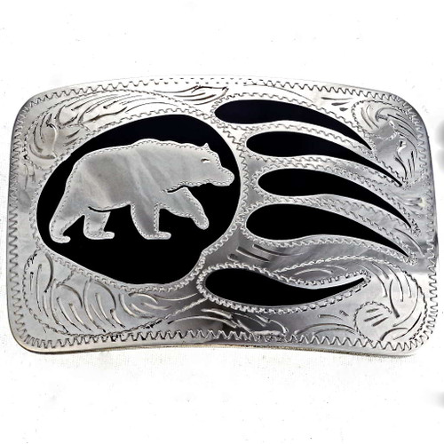 Hand Engraved Silver Bear Buckle 22974