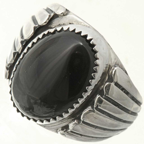 Black Onyx Sterling Mens Ring 26708
